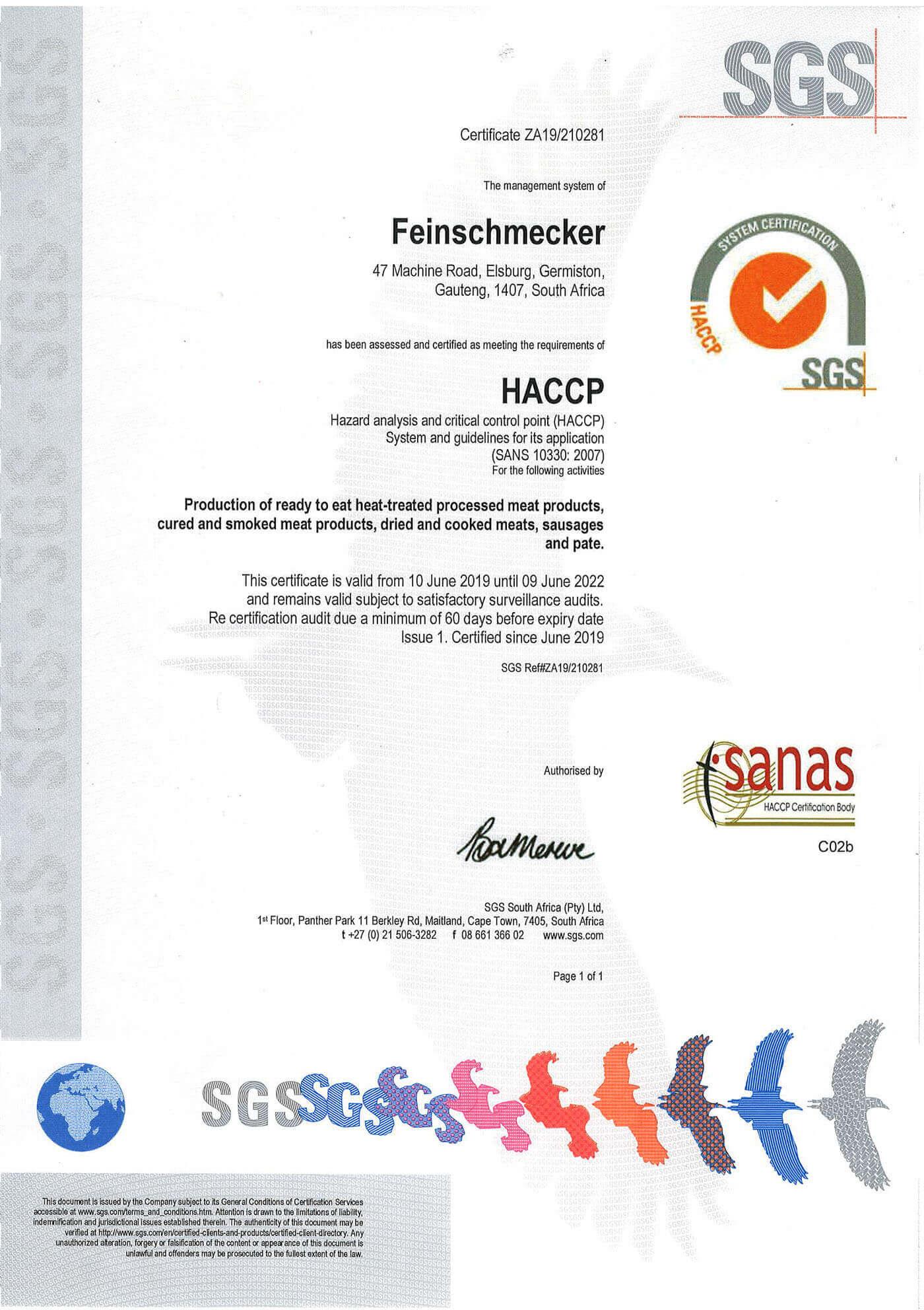SANAS HACCP Certificate Feinschmecker 2019